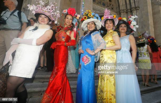 Parade participants display costumes during the 2017 Easter Parade and Easter Bonnet Festival on April 16 2017 in New York City