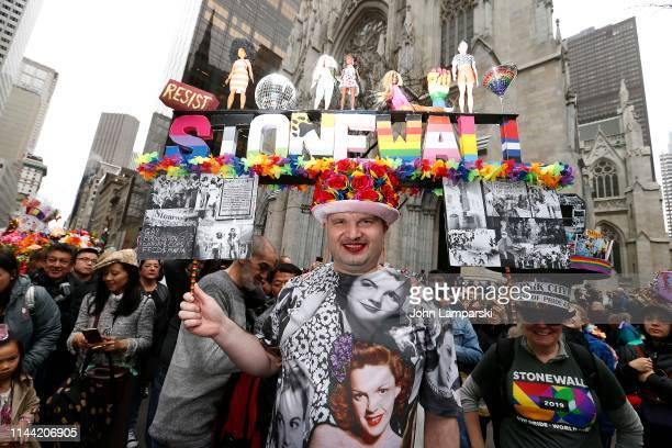 Parade participants display costumes during the 2019 New York City Easter Parade on April 21 2019 in New York City