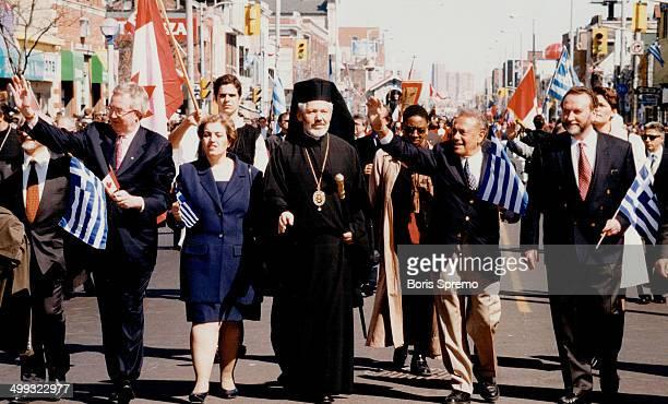 Parade participants From left are Joe Clark Alexandra Papadopulos Greek Orthodox Archbishop of Canada Sotirios Mel Lastman and Anastasios Karantonis