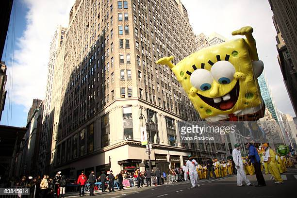 Parade participants guide a SpongeBob SquarePants float at the annual Macy's Thanksgiving Day Parade on November 27 2008 in New York City