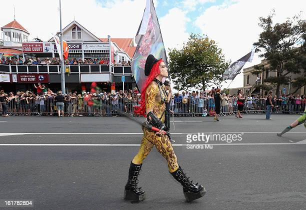 A parade partisipant moves down Ponsonby Road during the Pride parade on February 16 2013 in Auckland New Zealand The gay parade celebrating lesbian...