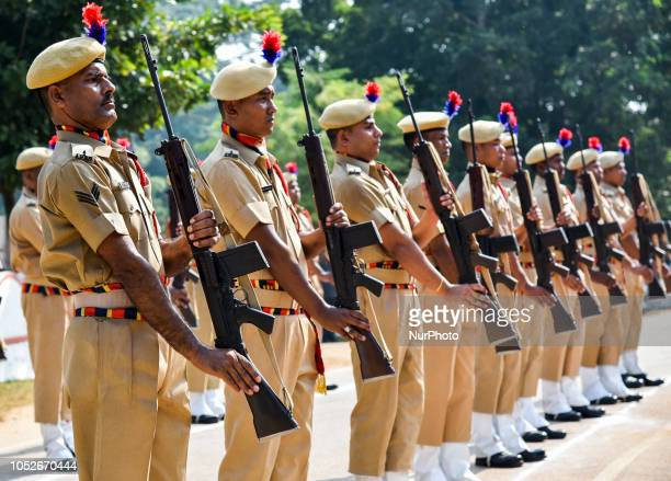 Parade to tribute to police martyrs during Police Commemoration Day at 4th APBN Head Quarter in Guwahati on Sunday October 21 2018 Police...