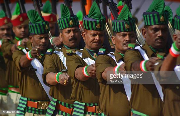 Parade unit of Police Armed Constabulary marches past during India' sannual Republic Dayat Police line Ground in Allahabad on January 262016 India...
