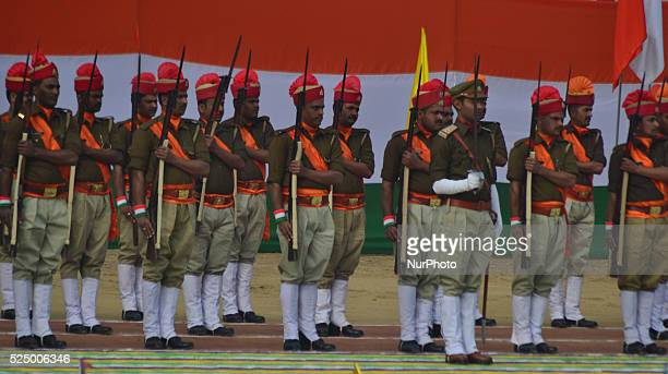 Parade unit of Uttar Pradesh Police marches past during India' sannual Republic Dayat Police line Ground in Allahabad on January 262016 India...
