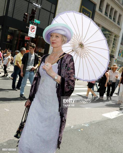 Paradegoers celebrate Easter and don festive hats at the Easter Parade and Bonnet Festival on 5th Avenue on April 16 2017 in New York City