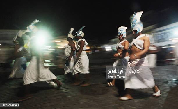 Paraders march on the second day of Carnival celebrations on February 17 2012 in Salvador Brazil Carnival is the grandest holiday in Brazil annually...