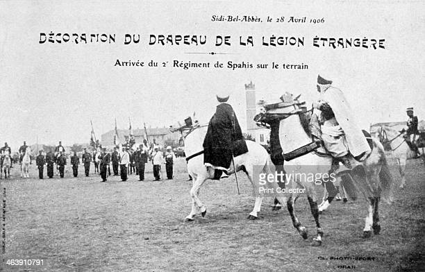 Parading of the flag of the French Foreign Legion Sidi Bel Abbes Algeria 28 April 1906 The 2nd Regiment of Spahis arrive The Spahis were regiments of...
