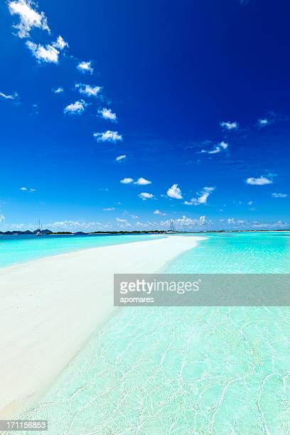 Paradisaical tropical white sand cays with turquoise beaches