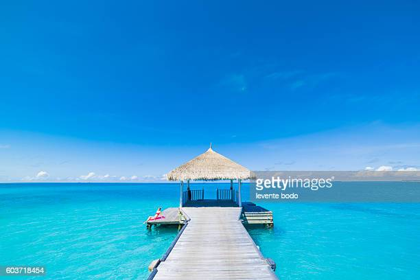 Paradise beach. Holiday vacations tourism concept. Tropical resort jetty in Maldives