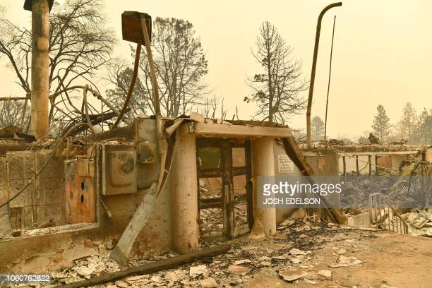 Paradise Elementary School is seen after burning down during the Camp fire in Paradise California on November 12 2018 Thousands of firefighters spent...