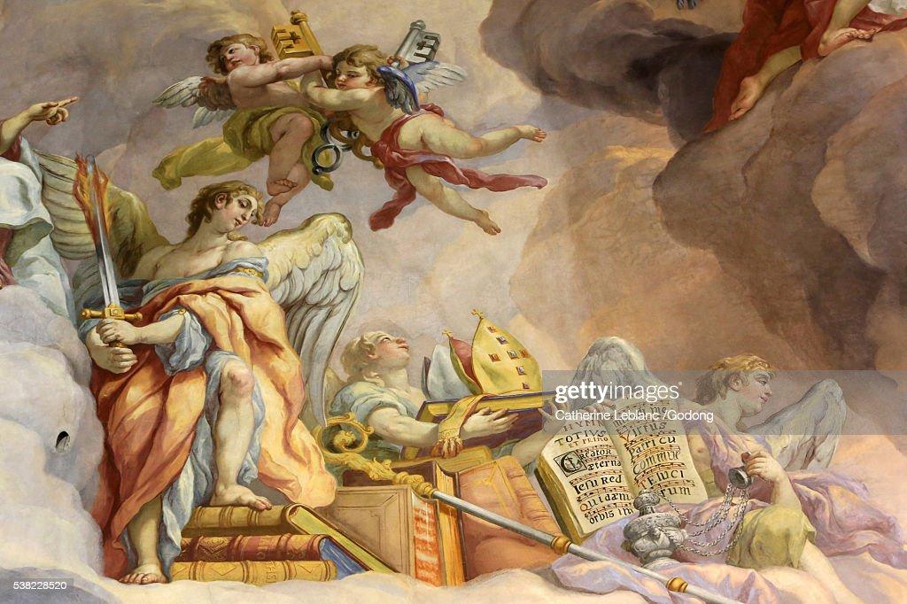 Paradise. Fresco by Johann Michael Rottmayrr. Karlskirche. St. Charles's Church. : Stock Photo