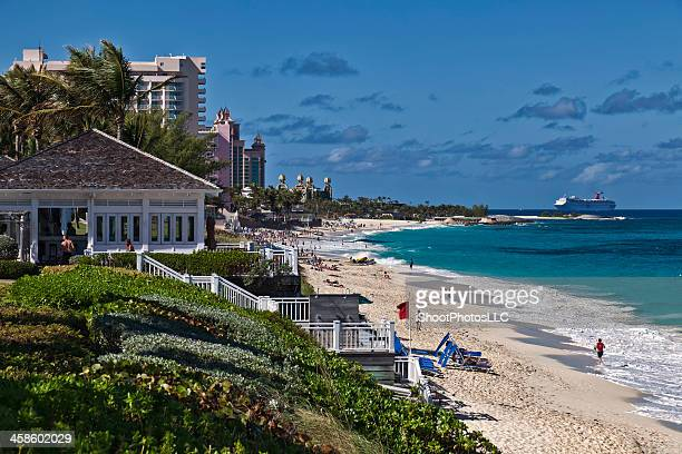 paradise island coastal view - nassau stock photos and pictures