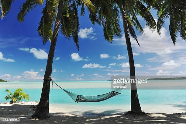 paradise island amaca - rarotonga foto e immagini stock
