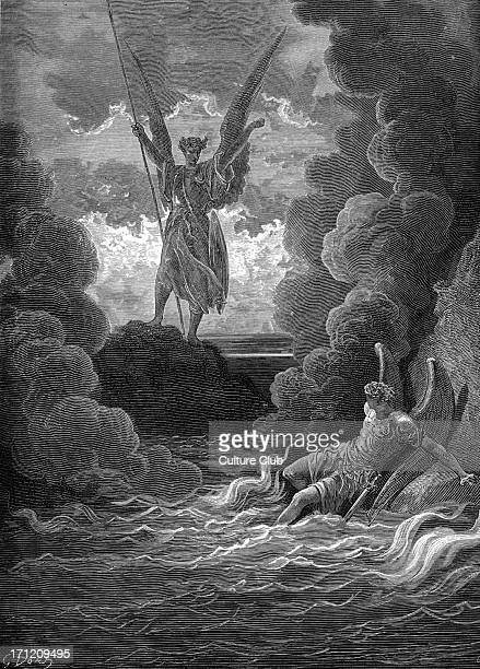 Satan and Beelzebub having fallen from heavenare in an abyss of raging fire Satan rears 'from off the pool His mighty stature on each hand the flames...