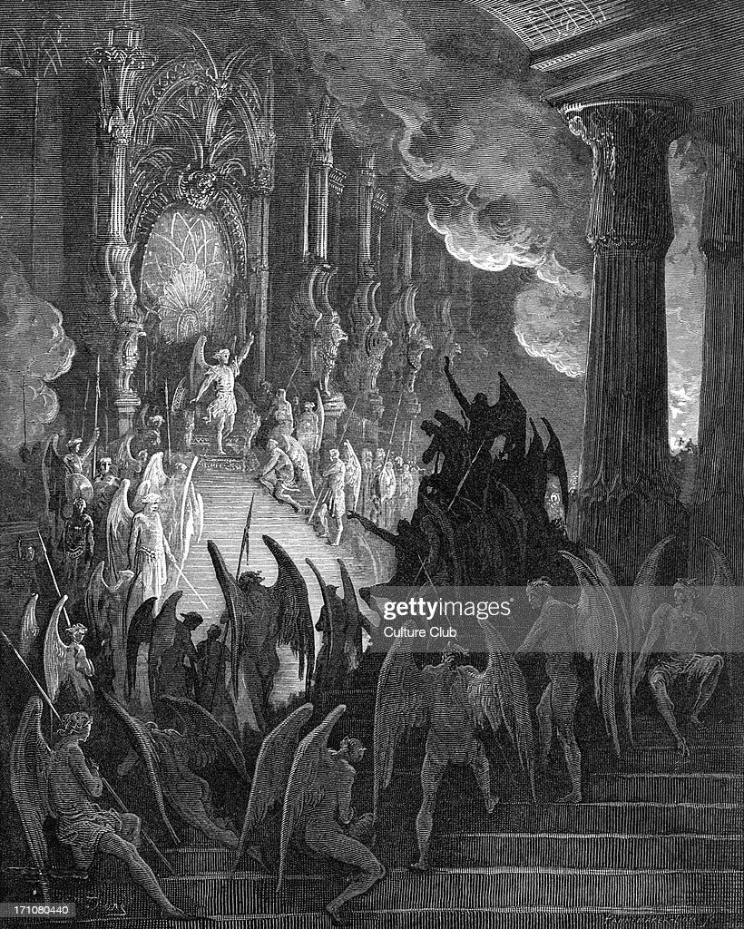 Paradise Lost: Satan in Council,  engraving by Gustave Doré : News Photo