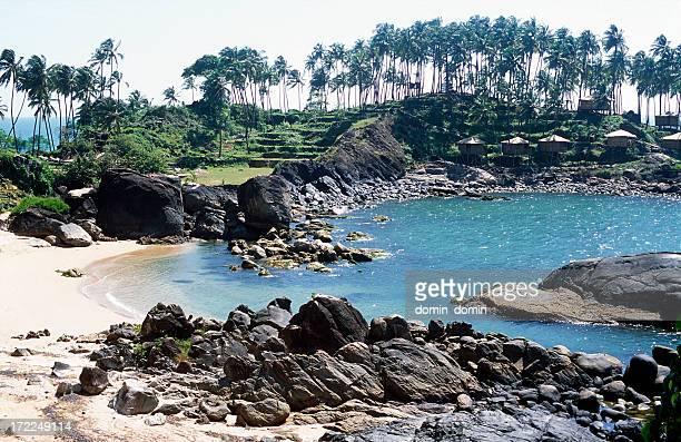 Paradise, tropical bay, beach, bamboo huts, palm trees, Goa, India