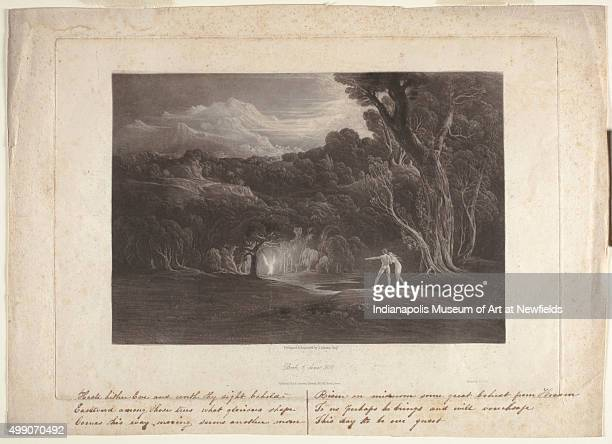 Paradisethe approach of the Archangel Raphael by English artist John Martin 1825 Gift of Mrs Peter A Richardson
