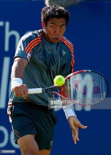 Paradom Srichaphan of Thailand in action against Mark Hilton of Great Britain during the first round at the 10tele.com Open at The Nottingham Tennis...
