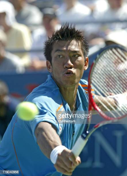 Paradorn Srichaphan during his match against Nikolay Davydenko in the second round of the 2005 US Open at the USTA National Tennis Center in...
