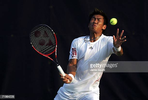 Paradorn Srichaphan of Thailand is hit in the face with a ball during his match against Kenneth Carlsen of Denmark on day 2 of the Legg Mason Tennis...