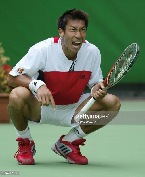 Paradorn Srichaphan of Thailand screams out in frustration during his loss to Andre Agassi of the US in their men's singles fourth round match at the...