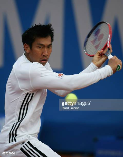 Paradorn Srichaphan of Thialand in action during his match against Juan Monaco of Argentina during the third round of The BMW Open Tennis at The...