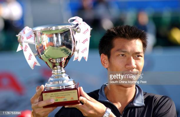 Paradorn Srichaphan tennis player from Thailand pictured with the trophy after he defeated Lee Hyungtaik of South Korea to win the men's singles...