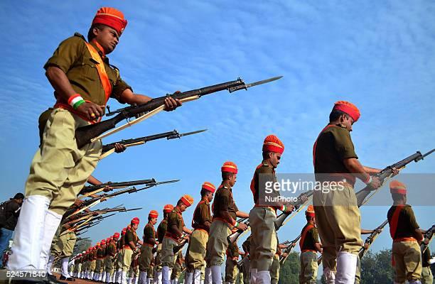Paradw unit of Uttar Pradesh Police loads their rifles gun fire salute during India'sannual Republic Dayat Police line Ground in Allahabad on January...