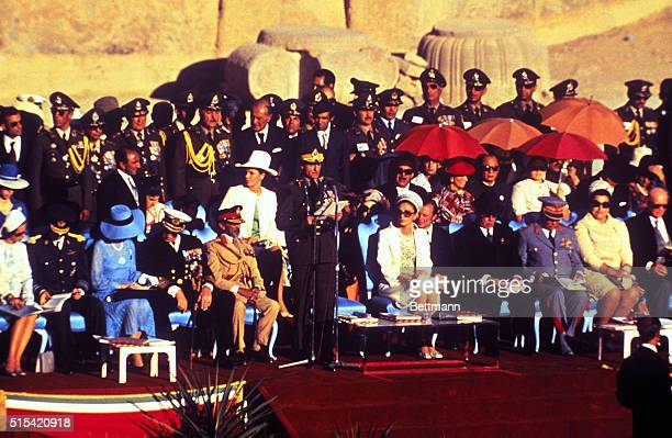Paragade: The Shah speaks at the opening of the parade. Left to right in the front row: Fabiola and Baudouin of Belgium, Ingrid and Frederick of...