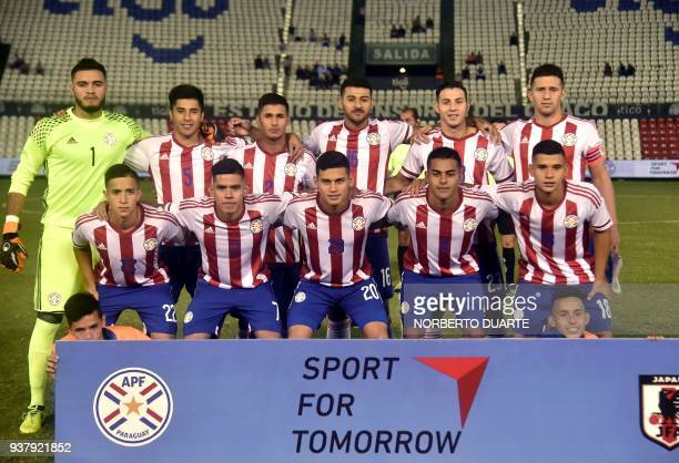 Paragay's U21 national football team players pose for a picture before their International quadrangular tournament match against Japan at Defensores...