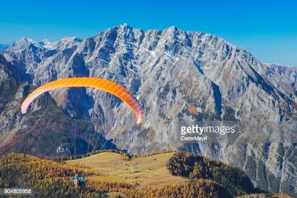Paraglider flying over Gotzenalm at Watzmann - Nationalpark Berchtesgaden