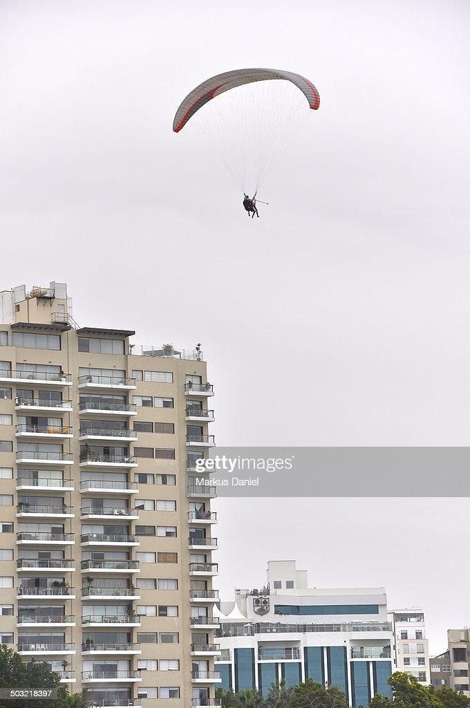 Paraglider in Miraflores, Lima, Peru : Stock Photo