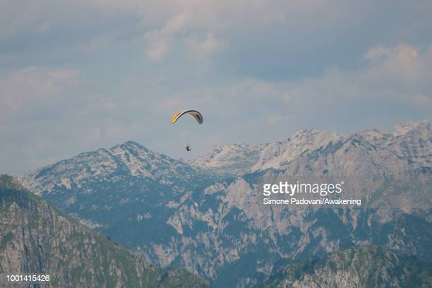 A paraglider of the British team is training on July 18 2018 in Feltre Italy Richard Butterworth starts training with his team today before the...