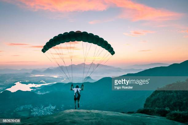 Paraglider taking off