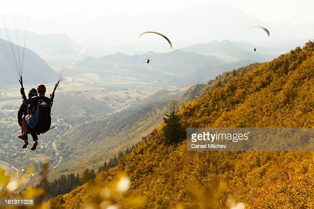 Paragliders in flight over a valley.