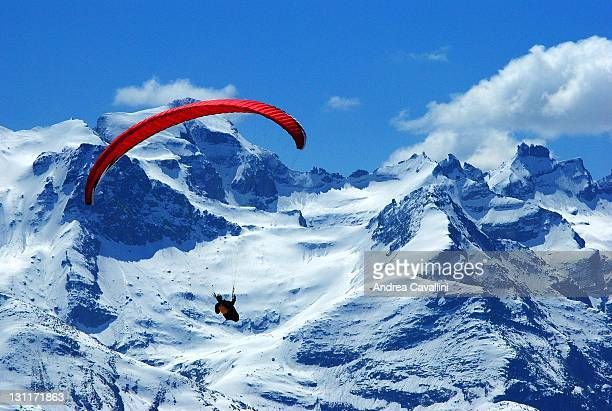 Paragliding above alps