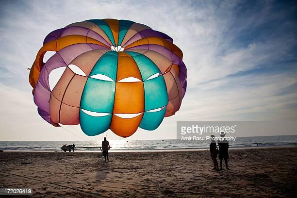 Paragliding at Benaulim beach, Goa, India