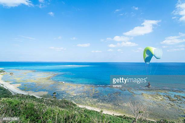 Paragliding flight over tropical beach and reef