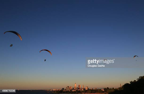 Paragliding group in the colorful sky