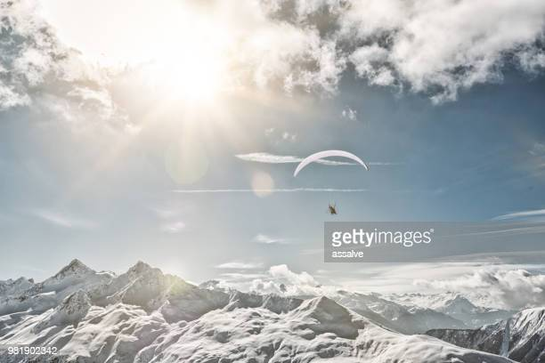 paragliding in davos, switzerland - davos stock pictures, royalty-free photos & images