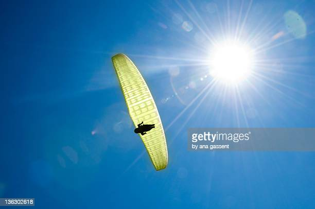 Paragliding man with blue sky