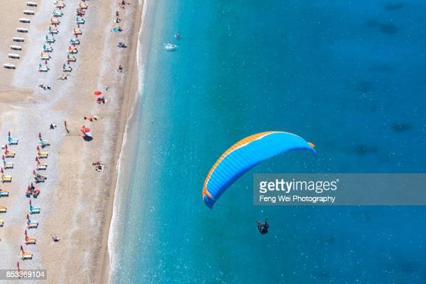 Paragliding Over Mediterranean Coast, Oludeniz, Fethiye, Mugla, Turkey