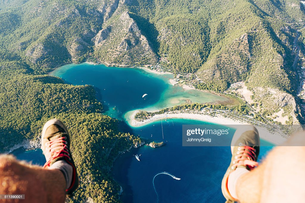 Paragliding over Oludeniz Blue Lagoon : Stock Photo