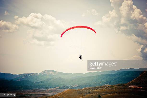 paragliding over the rock
