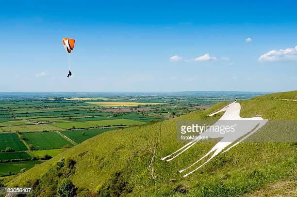 Paragliding over Westbury White Horse, Wiltshire, UK