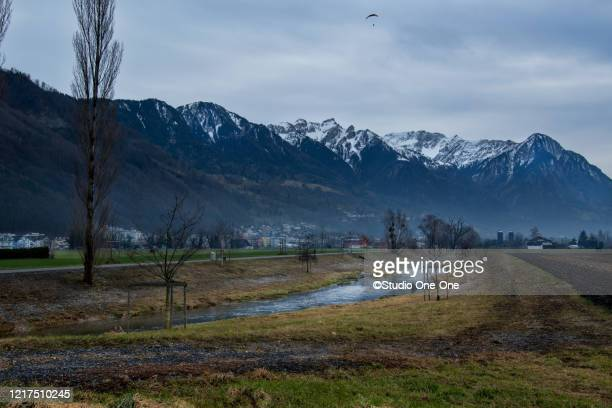 paragliding - vaduz stock pictures, royalty-free photos & images