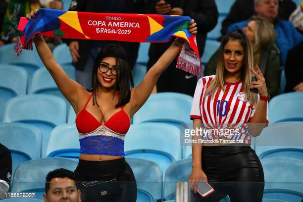 Paraguay fans look on during the Copa America Brazil 2019 quarterfinal match between Brazil and Paraguay at Arena do Gremio on June 27, 2019 in Porto...