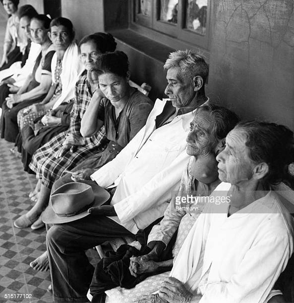 Goiter patients awaiting medical examination in the Asuncion region of Paraguay Undated photograph