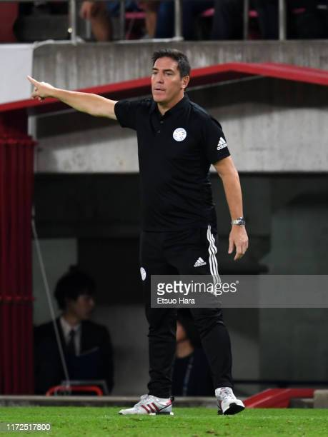 Paraguay head coach Eduardo Berizzo gestures during the international friendly match between Japan and Paraguay at Kashima Soccer Stadium on...