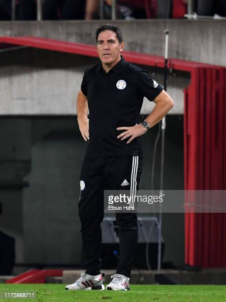 Paraguay head coach Eduardo Berizzo looks on during the international friendly match between Japan and Paraguay at Kashima Soccer Stadium on...